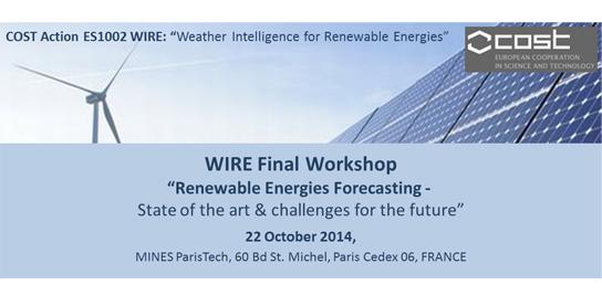 Colloque International sur la « Prévision des énergies renouvelables » à MINES ParisTech.