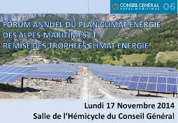 Forum annuel du Plan Climat Energie des Alpes-Maritimes et remise des trophées Climat Energie