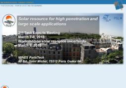 Réunion d'experts et atelier de la tâche 16 du programme PVPS de l'Agence Internationale de l'Energie sur la caractérisation et la prévision de la ressource solaire