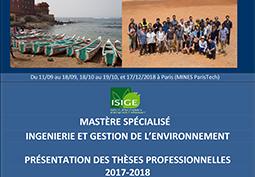 Présentation des thèses professionnelles du Mastère spécialisé IGE