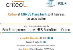 Prix Entrepreneuriat MINES ParisTech-Criteo 2018