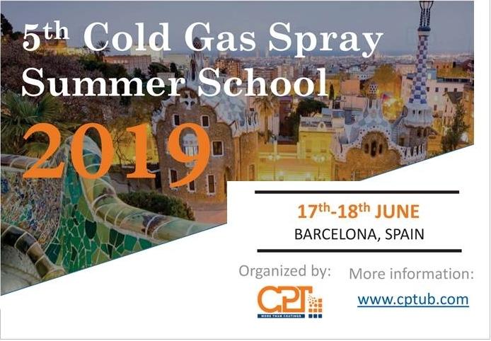 5th Cold Gas Spray Summer School BARCELONA SPAIN 17-18 june 2019