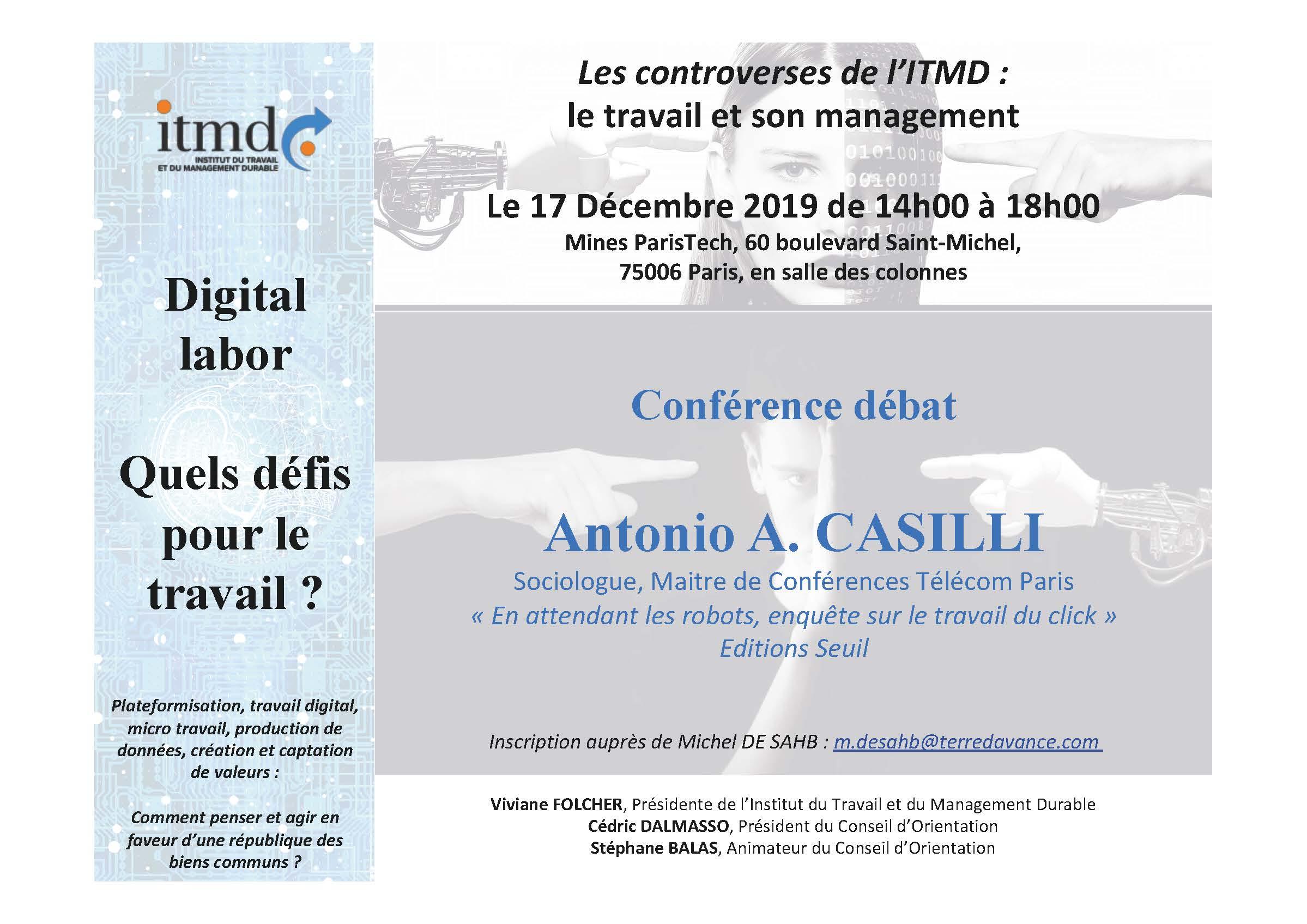 « En attendant les robots, enquête sur le travail du click » avec Antonio A. CASILLI Sociologue, Maitre de Conférences Télécom Paris