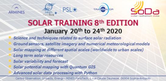 8<sup>e</sup> formation sur le rayonnement solaire